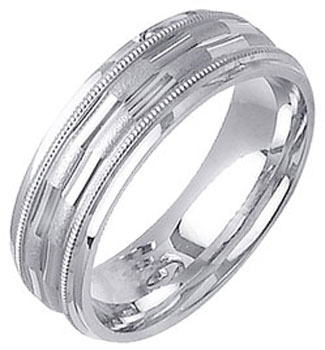 White Gold Fancy Wedding Band 7mm WG-1375