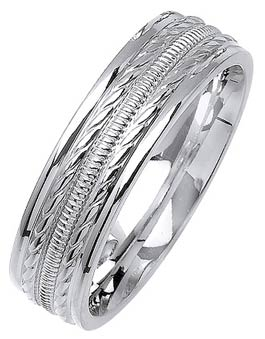 White Gold Fancy Wedding Band 6mm WG-1377