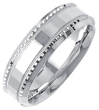 White Gold Fancy Wedding Band 7mm WG-1396