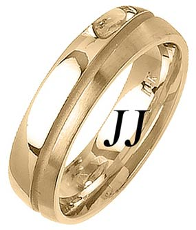 Yellow Gold Two Face Wedding Band 6mm YG-1460