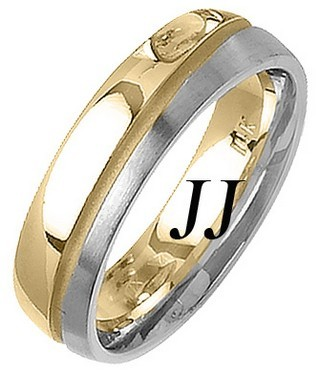 Two Tone Gold Two Face Wedding Band 6mm TT-1464