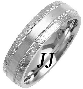 White Gold Fancy Wedding Band 6mm WG-1469