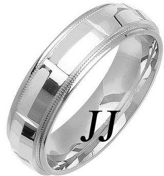 White Gold Fancy Wedding Band 6mm WG-1473