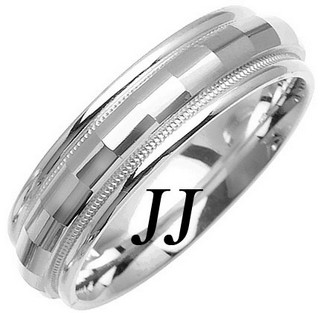 White Gold Fancy Wedding Band 6mm WG-1474