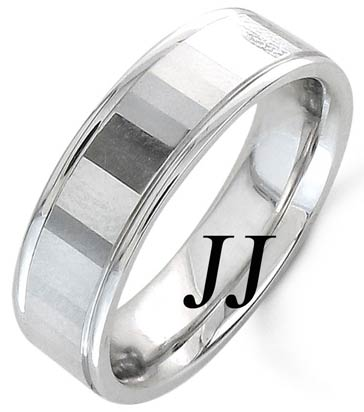 White Gold Mirror Effect Wedding Band 6.5mm WG-1557