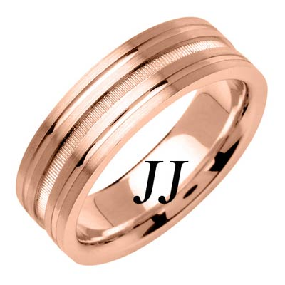 Rose Gold Dual Blasted Wedding Band 7mm RG-1560