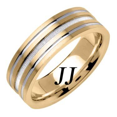 Two Tone Gold Dual Blasted Wedding Band 7mm TT-1560