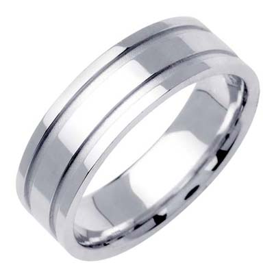 White Gold Dual Line Wedding Band 6.5mm WG-1561
