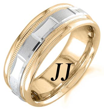 Two Tone Gold 2-Face Brick Wedding Band 6.5mm TT-1563