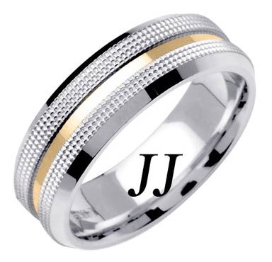 Two Tone Gold Dual Dotted Wedding Band 7mm TT-1570