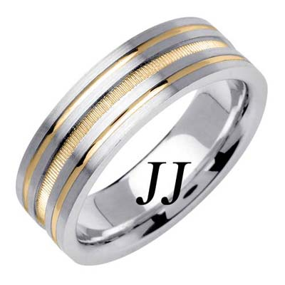 Two Tone Gold Dual Blasted Wedding Band 7mm TT-1571