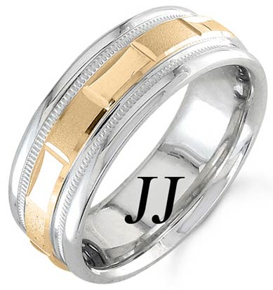Two Tone Gold 2-Face Brick Wedding Band 6.5mm TT-1574