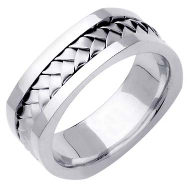 White Gold Hand Braided Wedding Band 7mm WG-162