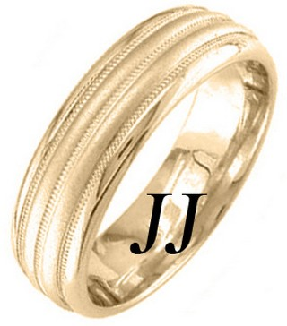 Yellow Gold Twin Blade Wedding Band 6.5mm YG-1652
