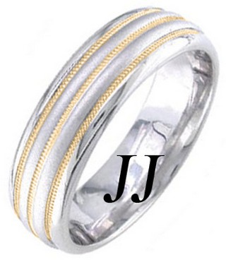 Two Tone Gold Twin Blade Wedding Band 6.5mm TT-1665