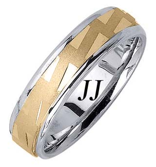 Two Tone Gold Stairway Design Wedding Band 6.5mm TT-1673