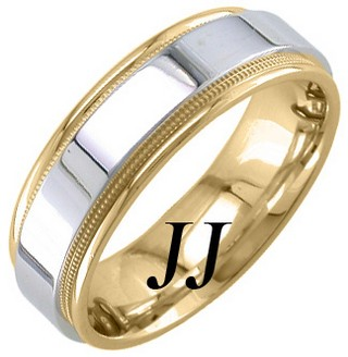 Two Tone Gold Polished Wedding Band 7mm TT-1773