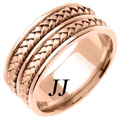 Rose Gold Hand Braided Wedding Band 9mm RG-257