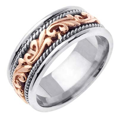 Two Tone Gold Paisley Wedding Band 9mm TT-259A