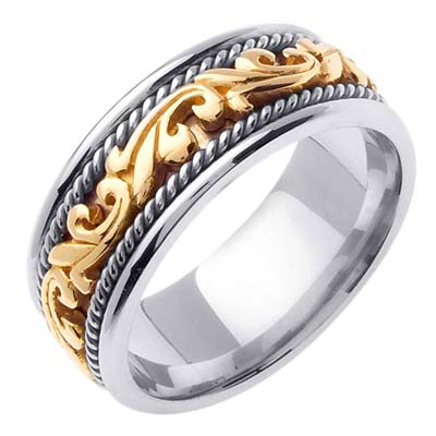 Two Tone Gold Paisley Wedding Band 9mm TT-259B
