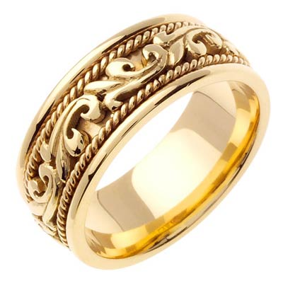 Yellow Gold Paisley Wedding Band 8mm YG-265