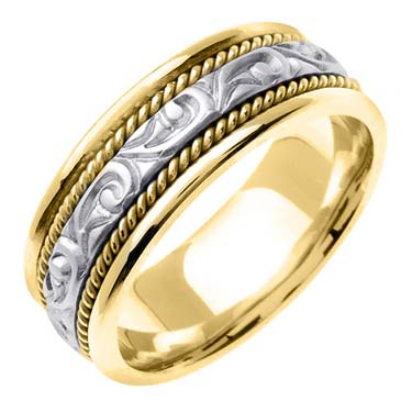 Two Tone Gold Paisley Carved Wedding Band 7mm TT-256B
