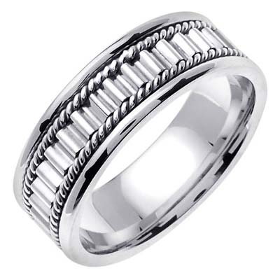 White Gold Bullet Braided Wedding Band 7mm WG-352