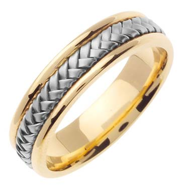 Two Tone Gold Hand Braided Wedding Band 5.5mm TT-361A