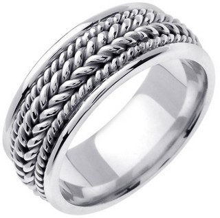 White Gold Hand Braided Wedding Band 8.5mm WG-362