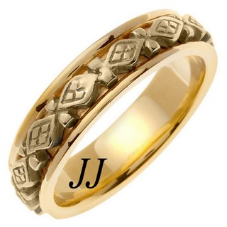 Yellow Gold Diamond Back Wedding Band 6mm YG-451
