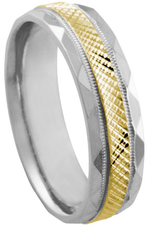 Two Tone Gold Designer Wedding Band 6mm TT-479A