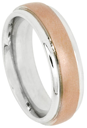 Two Tone Gold Designer Wedding Band 6mm TT-482A