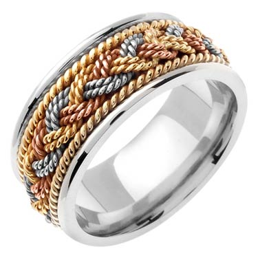 Tri Color Gold Sailor Braid Wedding Band 9mm TC-556B