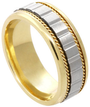 Two Tone Gold Designer Wedding Band 7.5mm TT-588A