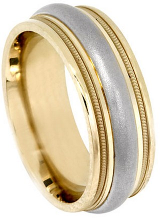 Two Tone Gold Designer Wedding Band 7.5mm TT-593A