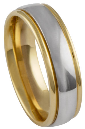 Two Tone Gold Polished Wedding Band 6.5mm TT-673