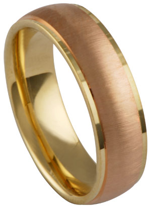 Two Tone Gold Designer Wedding Band 6.5mm TT-674A