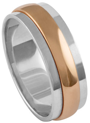 Two Tone Gold Polished Wedding Band 6.5mm TT-677A