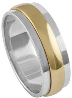 Two Tone Gold Polished Wedding Band 6.5mm TT-677B