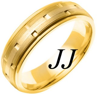 Yellow Gold Link Wedding Band 6.5mm YG-754
