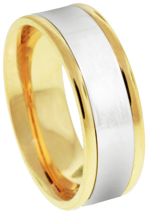 Two Tone Gold Designer Wedding Band 6.5mm TT-781A