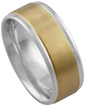 Two Tone Gold Designer Wedding Band 8mm TT-876A