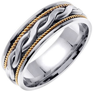 Two Tone Gold Snake Twist Wedding Band 8mm TT-956A