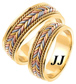 Tri Color Gold Hand Braided Wedding Band Set 7mm TC553S TC553S