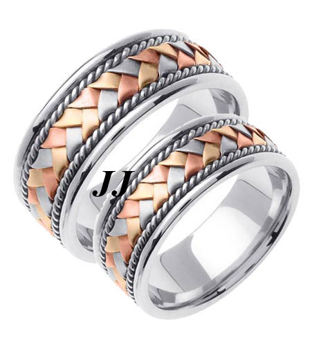 Tri Color Gold Hand Braided Wedding Band Set 8mm TC-155S