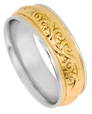 Two Tone Gold Paisley Wedding Band 7mm TT-291A