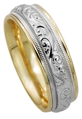 Two Tone Gold Paisley Wedding Band 7mm TT-293