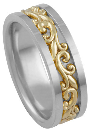 Two Tone Gold Paisley Wedding Band 7mm TT-294A