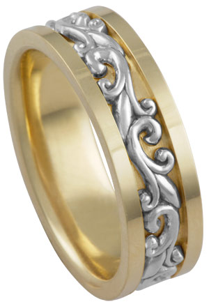 Two Tone Gold Paisley Wedding Band 7mm TT-294C