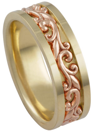 Two Tone Gold Paisley Wedding Band 7mm TT-294D